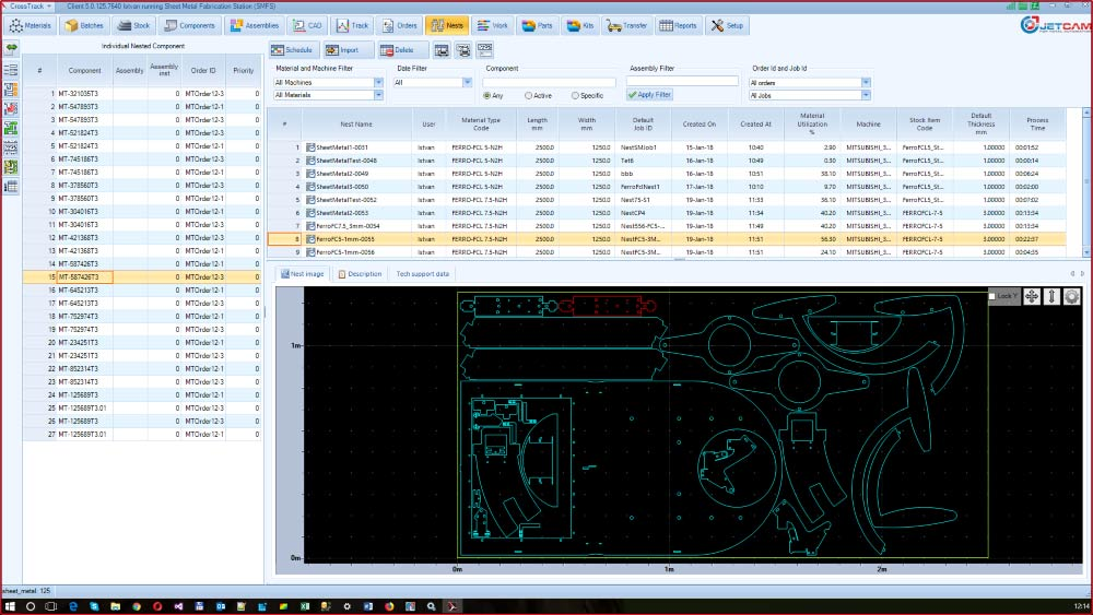Sheet metal material tracking and job scheduling software